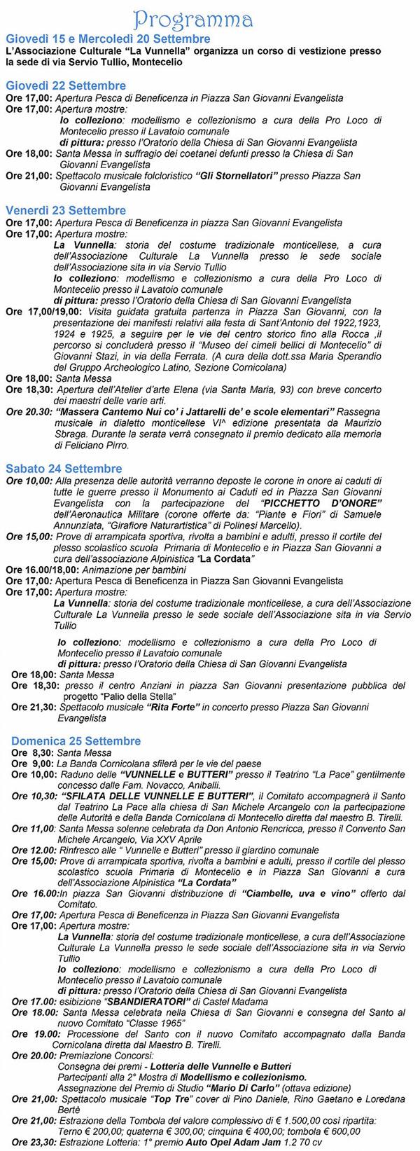 Programma festa di San Michele Montecelio
